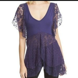 Free People Lace Flowy Tunic Top